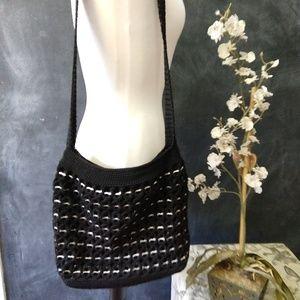 BAG   Crossbody Zippered Crochet Black Purse